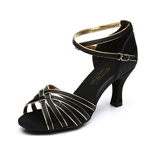 Heel Ballroom Performance Praxis Schnalle Band Abend Schuhe Tie Sneaker Latin 41 Party XUE Größe Schwarz Schuhe Farbe Sandale D B amp; Damen Seide 8qOvA