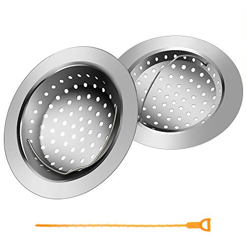 2PCS Kitchen Sink Strainer Basket + 1PCS Drain Snake Colg Remover - Empino Stainless Steel Kitchen Sink Drain Filter with Handle - Large Rim 4.3