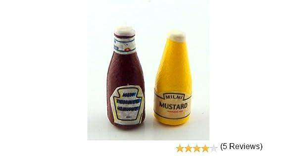 Casa De Muñecas Ketchup /& Mustard Botellas Cocina Cafe Accesorio
