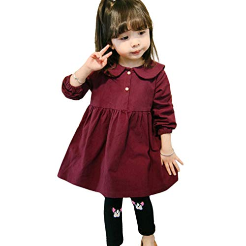 Rysly Baby Girl Casual Cotton Long Sleeves Dress Catton Princess Dress Infant Toddler Girls