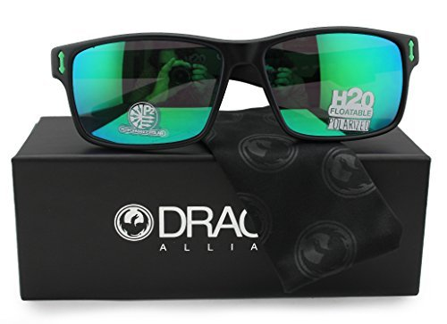 Dragon Alliance Dr Count H2O Polarized Floatable Sunglasses Matte Black w/Green Mirror (045) 58mm Authentic