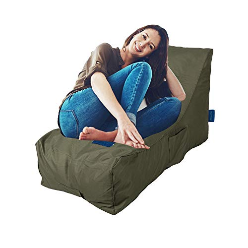 KARMAS PRODUCT Chaise Lounge Chair Self Expanding Sponge Bean Bag Home Furniture Lazy Relax Comfort Bed Sofa for Adults Kids, Army Green