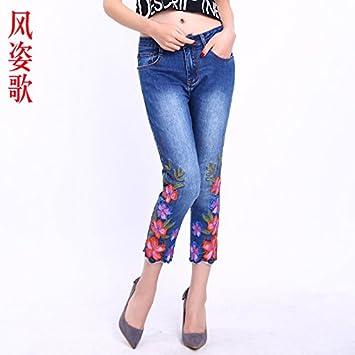 XiaoGao Ocho Puntos de Flores Bordadas, Pantalones Vaqueros ...