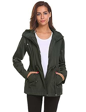 Womens Lightweight Rain Coat Outdoor Casual Rain Jacket Waterproof Packable Hunter Jacket Women Windbreaker