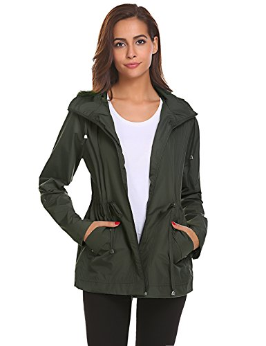 Women Rain Jackets Waterproof with Hood Lightweight Raincoat with Hood Outdoor,Army Green Waterproof Rain Jacket,XXX-Large