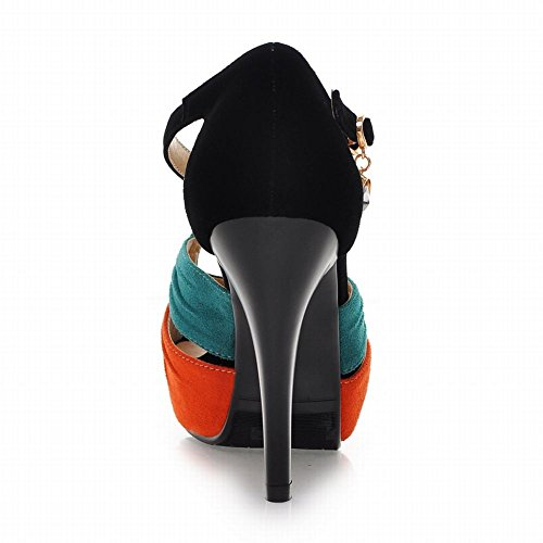 Carol Zapatos Chic Mujeres Hebilla Rhinestone Surtido Color Sexy Peep-toe Stiletto Sandalias De Tacón Alto Naranja