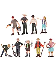 Baoblaze 9 Piezas Pintadas A Mano Modelo Trabajador De Granja Figurita Casa De Muñecas Mini Personas Figuras