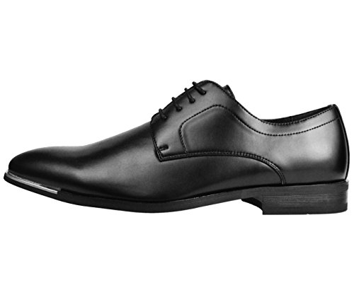Amali Mens Smooth Classic Plain Toe Oxford Tuxedo Dress Shoe With Silver Tip Style Griffin Black NBm3f22k