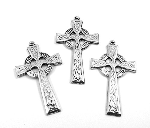 - Set of Three (3) Silver Tone Pewter Celtic Cross Charms/Pendants