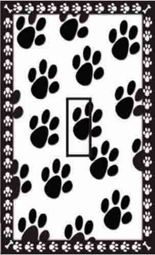 SwitchStix Dog Paw Prints Single Toggle Peel and Stick Switch Plate Cover Décor