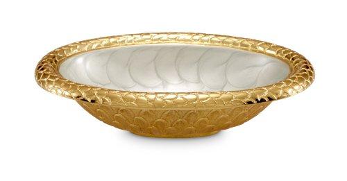 Julia Knight Florentine Oval Bowl, 8-Inch, Hydrangea, Gold, Grey, Yellow