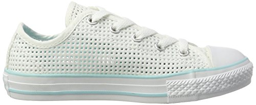 Converse Unisex-Kinder Chuck Taylor All Star Double Tongue Ox Low-Top, Weiß/Türkis, 32 EU