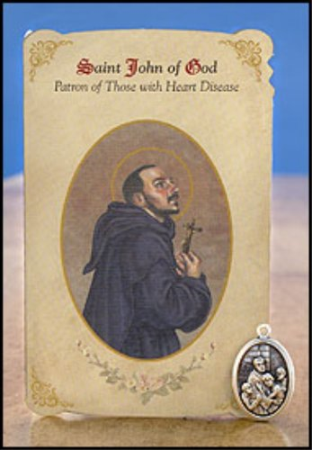 Price comparison product image 6pc Patron Saints of Healing St. John of God (Heart Disease) Healing Holy Card with Medal