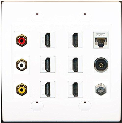 RiteAV Cat5e Coax Rca Composite Video Stereo Toslink 6 Hdmi TV Wall Plate White