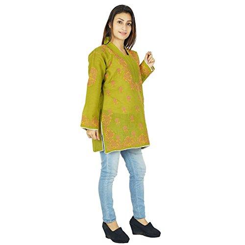 Chikan bordadas indias de Bollywood mujeres Kurta étnico Kurti vestido de la túnica casual Aceituna verde-1