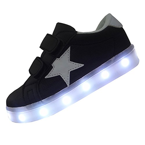 DAYOUT Unique Star Patchwork Unisex Child Led Shoes For Kids Boys Girls Luminous Sneakers (US 11.5 / EU 29, Black)