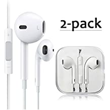 2 Pack Premium Earphones/Earbuds/Headphones/Headsets to 3.5mm with Stereo Mic&Remote Noise Isolating Control Headphone for Most Smartphones - White