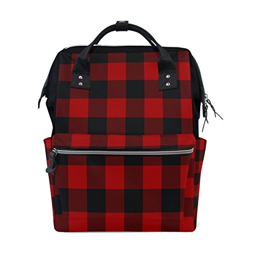 WOZO Red Black Plaid Multi-function Diaper Bags Backpack Travel Bag by WOZO