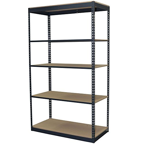 5-Shelf Steel Boltless Shelving Unit with Low Profile Shelves and Particle Board Decking (Price Varies by Size)
