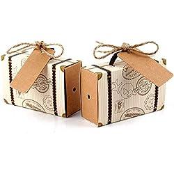 Mini Candy Box Vintage Wedding Gifts-Wedding Candy Box Paper-Wedding Candy Boxes for Guests-Favor Gift Box/Candy Boxes/Wedding Party Decor-Burlap Wedding Shower Decorations-Rustic Wedding Decor (50)