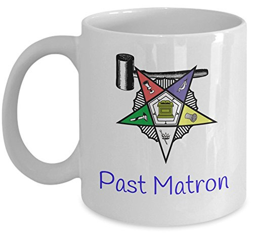 - Order of the Eastern Star coffee mug - Past Matron gavel symbol - Masonic tea cup Sistar oes O.E.S. girl- Freemason gift accessories - Sold only by Saroth design