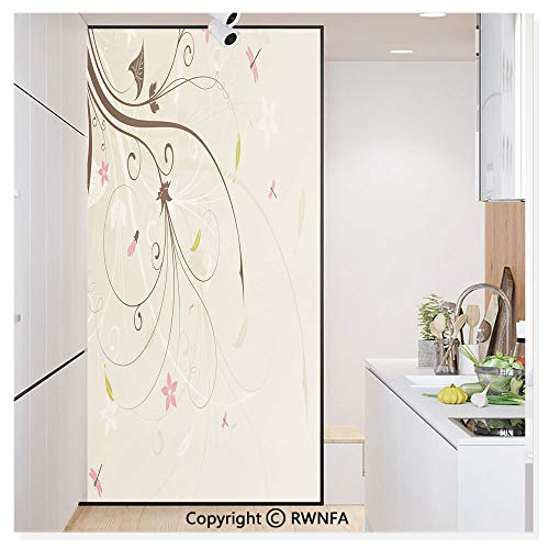 Non-Adhesive Privacy Window Film Door Sticker Spring Field Bouquet Shabby Chic Abstract Blossom Greenland Graphic Art Glass Film 23.6 in. by 78.7in. (60cm by 200cm),Tan Brown Light Pink