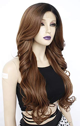 - Ebingoo Brown Ombre Lace Front Wig with Black Roots Long Body Wavy Synthetic Wig with Flip Side Part Glueless Natural Heat Resistant Hair for Women 26 inches