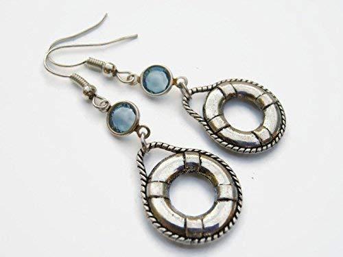 Buoy Birthstone Earrings, Personalized Lifeguard Earrings, Ocean Earrings, Beach Earrings, Rescue Jewelry