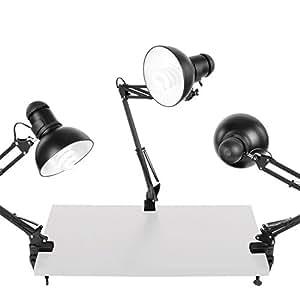walimex Daylights - Juego de tres lámparas de escritorio (125 W), color negro