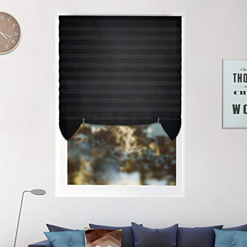 6 Pack Temporary Window Shades Cordless Blinds Light Filtering Pleated Fabric Shade Easy to Cut and Install, with 12 Clips, 48″x72″ -6 Pack, Black