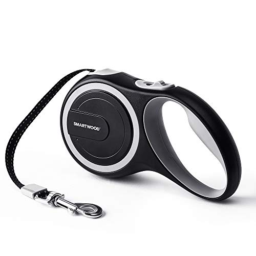 SMARTWOOD Retractable Dog Leash Small Breed with Strong Tangle-Free Nylon Ribbon Cord, Anti-Slip Handle-One Button Brake & ()