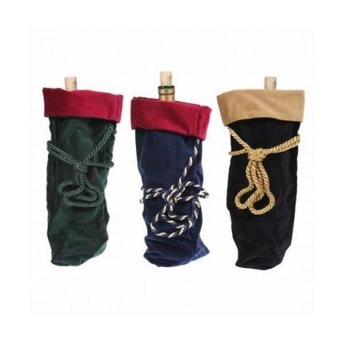 3 Velvet Wine Bottle Totes Reusable Gift Bag Stockings