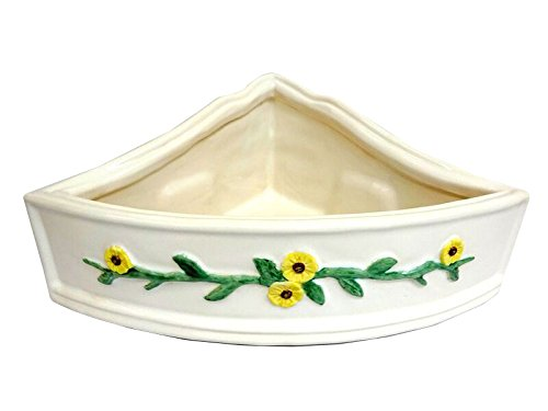 Art in Sink 6CB10/1014 Barthroom Corner Wall Basket Ceramic 10-1/2'' Shower Hand Painted Flower Raised Band, White by Art in Sink