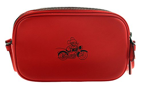COACH MICKEY Crossbody Pouch in Glove Calf Leather (Bright Red) by Coach