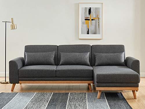 HOMIFAB Canapé d'angle scandinave Convertible en Tissu Gris avec Couchage 110x210cm – Collection Mathis