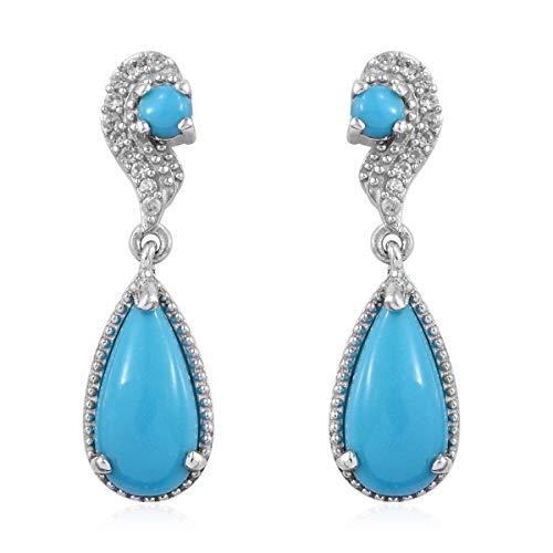 925 Sterling Silver Platinum Plated Sleeping Beauty Turquoise Zircon Dangle Drop Earrings