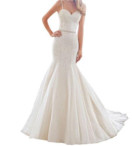 LISA.MOON Women's Sweetheart Mermaid Spaghetti Strap Sweep Train Wedding Dress Ivory US12