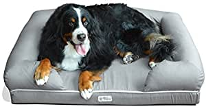 """PetFusion Ultimate Solid 4"""" WATERPROOF Memory Foam Dog Bed for X Large Dogs (44x34x10"""" orthopedic mattress; Gray). Replacement covers & blankets also avail"""