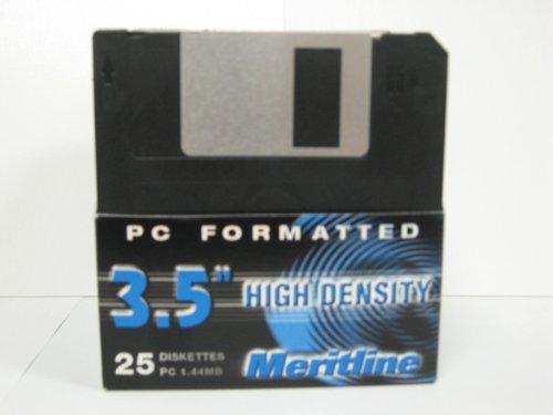 25 pack Floppy Disks 3.5'' HD 1.44MB Black, Meritline Brand by Meritline