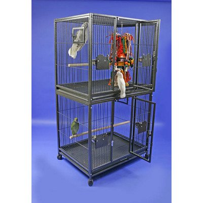 Large Double Stack Bird Cage Color: Platinum (Cage Double Breeder Lock)