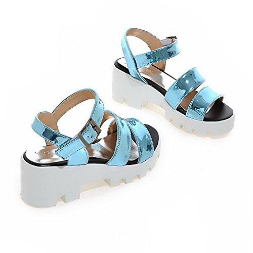 Heels Women's VogueZone009 Buckle Open Wedges PU Solid Sandals Kitten Blue Toe wXTXgxq