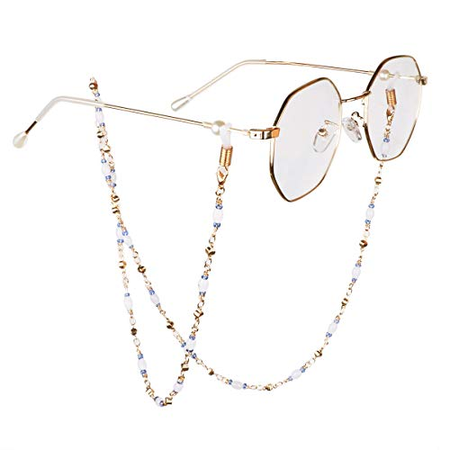IEFIEL Gold-Tone Beads Eyeglass Chain Holder Reading Glasses