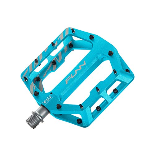 Funn Funndamental Flat BMX/MTB Bike Pedal Set - Wide Platform Bicycle Pedal, Adjustable Grip, 9/16-inch CrMo Axle (Turquoise) (Best Dirt Jump Pedals)