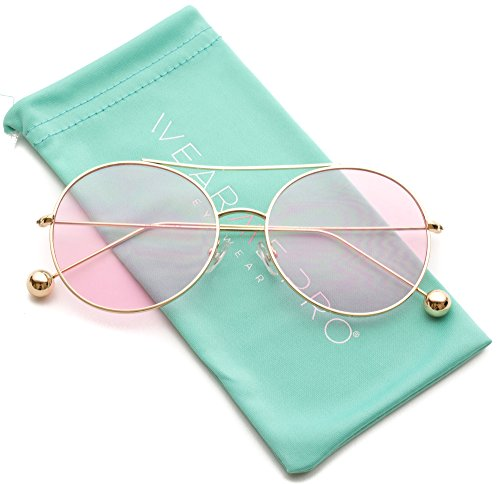 WearMe Pro - Round Colored Tinted Lens Metal Frame - Sunglasses Pink Colored