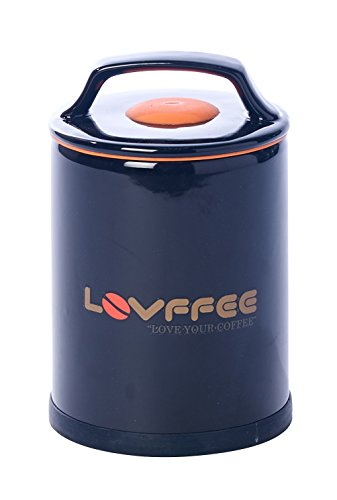 LOVFFEE Black Ceramic Premium Coffee Canister (with Coffee Scoop): Holds 1 Pound Whole Coffee Beans or Ground Coffee in Patented Airtight Vacuum Sealed Coffee Storage Container