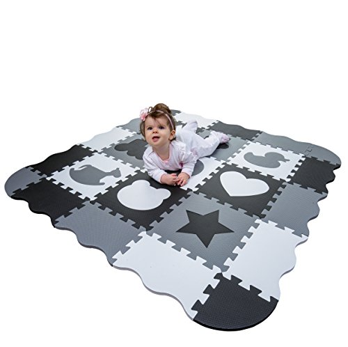 Wee Giggles Non-Toxic, Extra Thick Foam Baby Play Mat for Tummy Time and Crawling (Black/White/Gray)