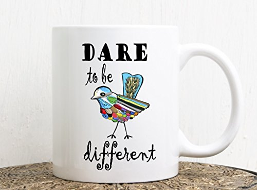 Dare to be different mug, bird lovers gift mug, positive message coffee mug, inspiring gift mug , unique gift mug, inspiring mug, Lgbt mug, gay wedding gift, Lesbian gift, same sex gift by wurksfromheart