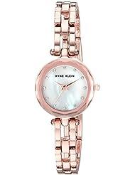 Anne Klein Womens AK/3120MPRG Swarovski Crystal Accented Rose Gold-Tone Open Bracelet Watch