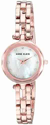 Anne Klein Women's Swarovski Crystal Accented Rose Gold-Tone Open Bracelet Watch