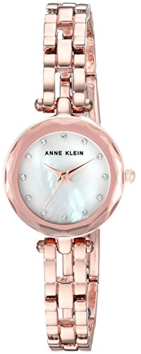 (Anne Klein Women's  Swarovski Crystal Accented Rose Gold-Tone Open Bracelet Watch)